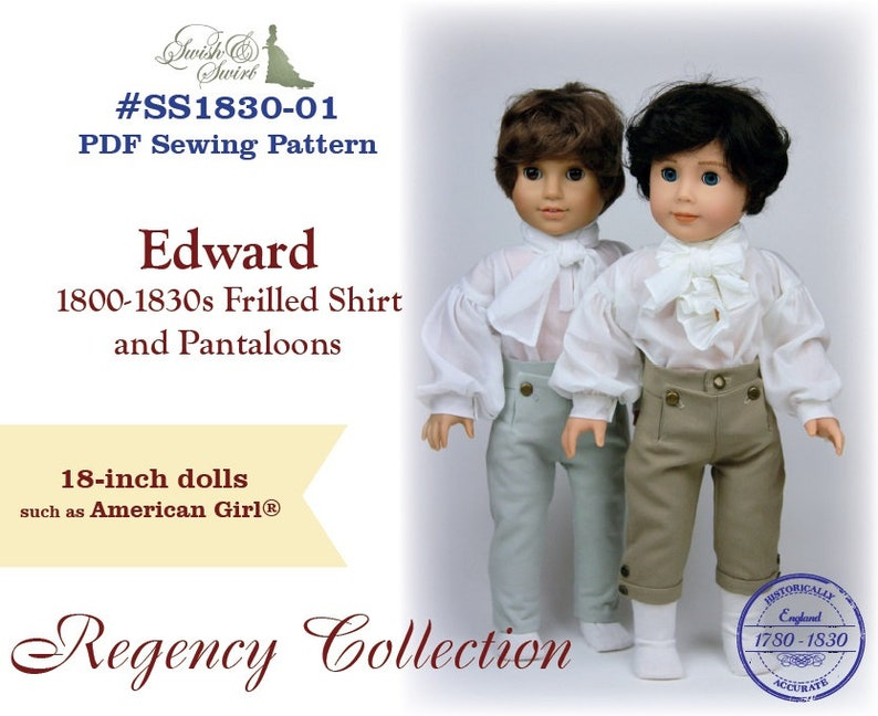 PDF Pattern SS1830-01. Edward 1800-1830s Frilled Shirt and image 0