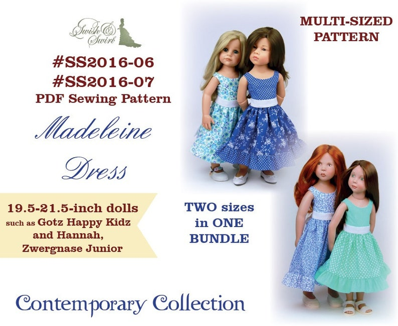 PDF Pattern SS2016-06&07. Madeleine dress for 19.5 and 21.5 image 0