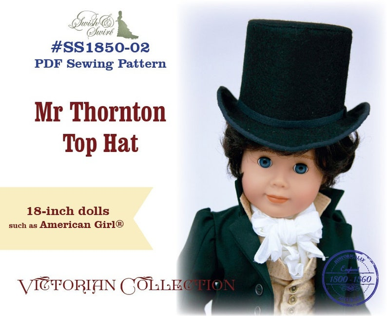PDF Pattern SS1850-02. Mr Thornton Top Hat for 18-inch dolls image 0