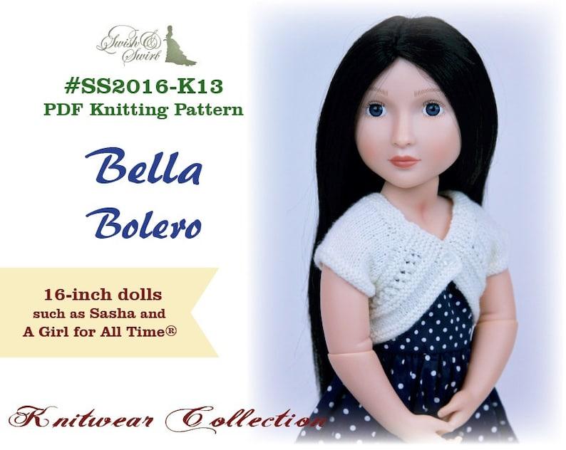 PDF Knitting Pattern SS2016-K13. Bella Bolero for 16-inch A image 0