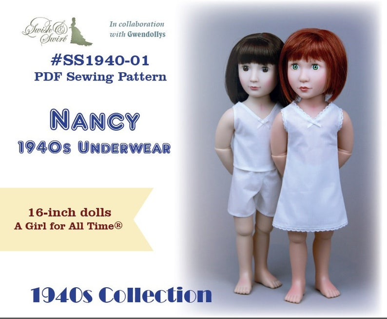 PDF Pattern SS1940-01. Nancy 1940s Underwear for A Girl for image 1