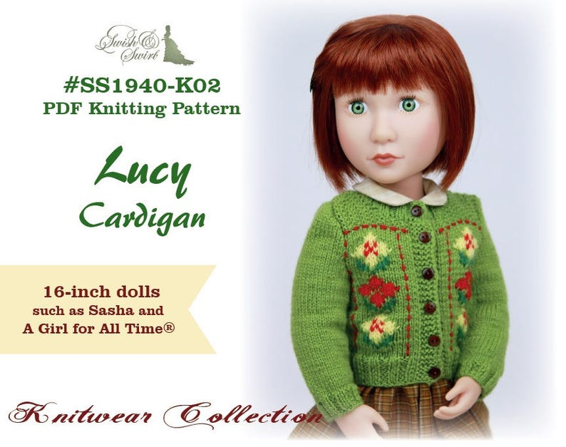 PDF Knitting Pattern SS1940-K02. Lucy Cardigan for 16-inch A image 0