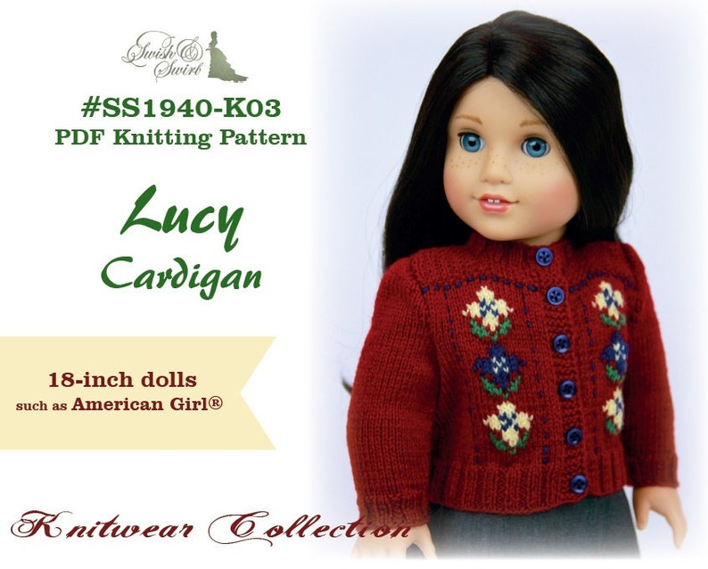 PDF Knitting Pattern SS1940-K03. Lucy Cardigan for 18-inch image 0