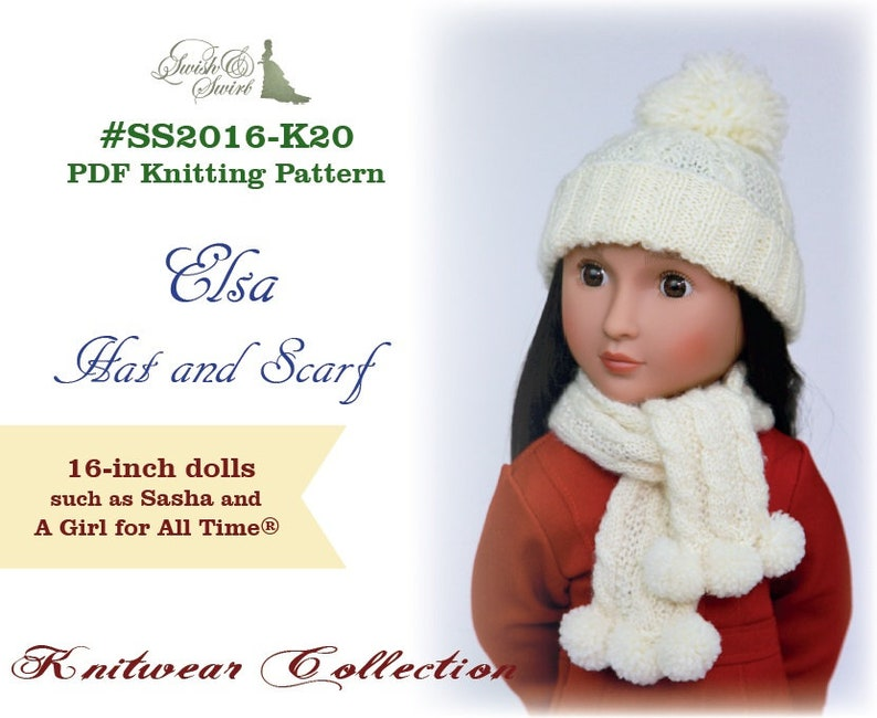 PDF Knitting Pattern SS2016-K20. Elsa Hat and Scarf for image 0