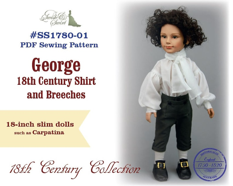 PDF Pattern SS1780-01. George 18th Century Shirt and Breeches image 0