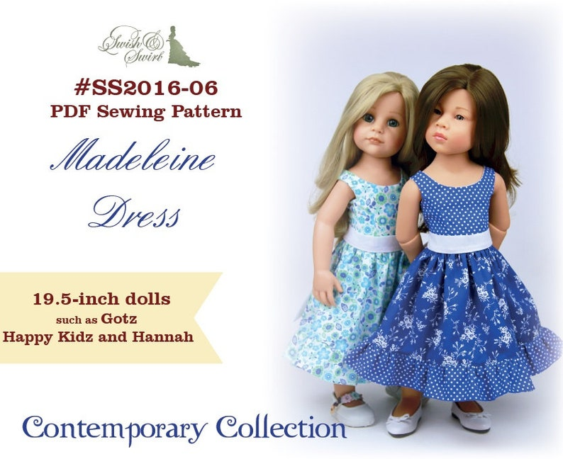 PDF Pattern SS2016-06. Madeleine dress for 19.5-inch dolls image 0