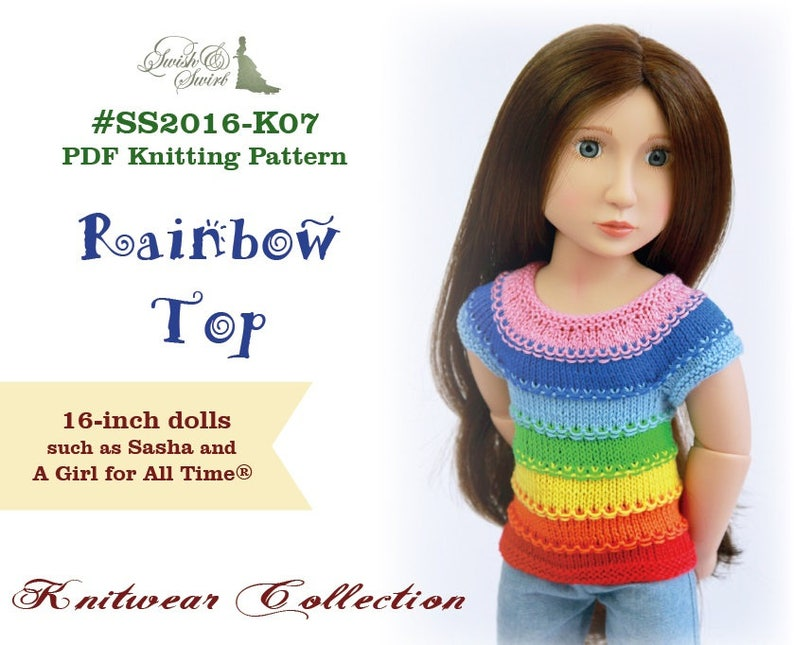 PDF Knitting Pattern SS2016-K07. Rainbow Top for 16-inch image 0