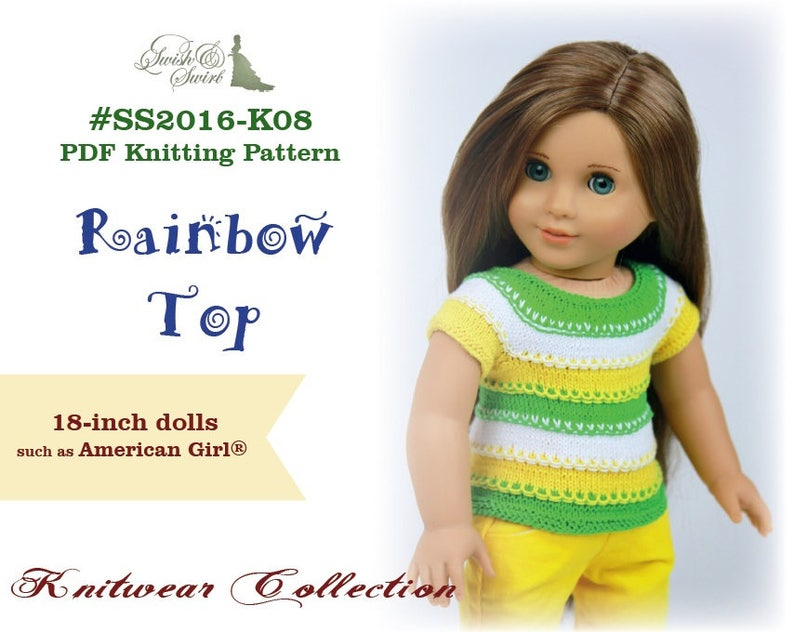 PDF Knitting Pattern SS2016-K08. Rainbow Top for 18-inch image 0