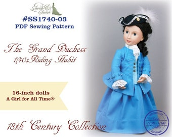 PDF Pattern #SS1740-03. The Grand Duchess. 1740s Riding Habit for A Girl for All Time dolls.