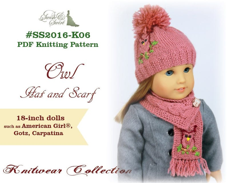 PDF Knitting Pattern SS2016-K06. Owl Hat and Scarf for image 0