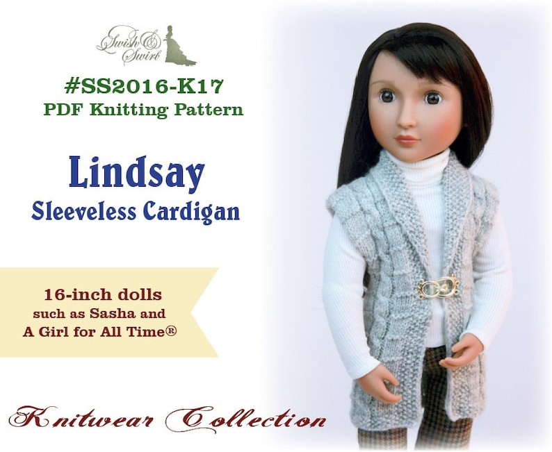 PDF Knitting Pattern SS2016-K17. Lindsay Sleeveless Cardigan image 0