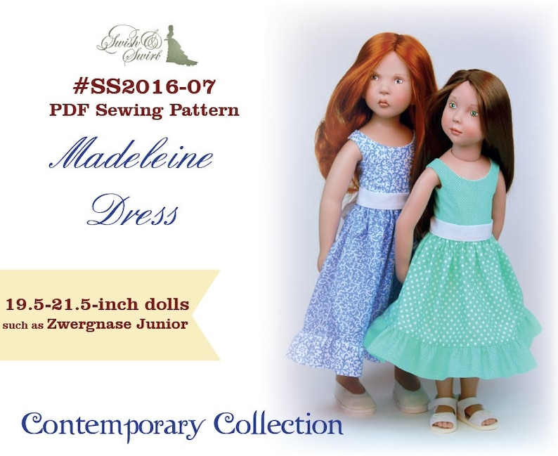 PDF Pattern SS2016-07. Madeleine dress for 19.5 and 21.5 inch image 0
