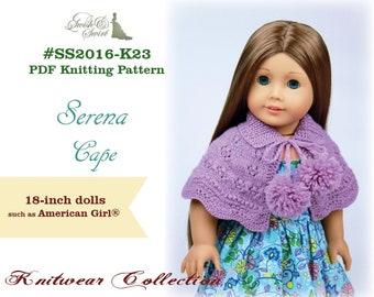 PDF Knitting Pattern #SS2016-K23. Serena Cape for 18-inch dolls like American Girl®.