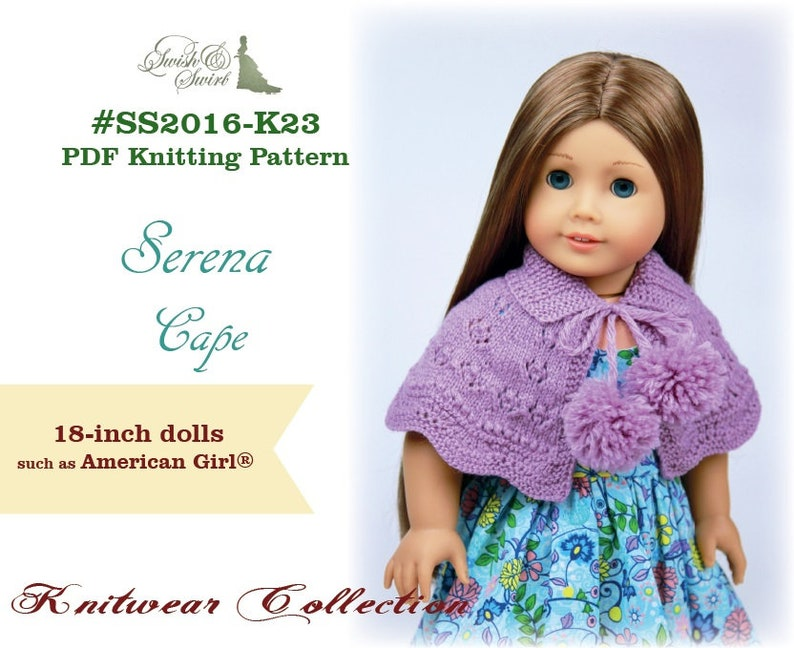PDF Knitting Pattern SS2016-K23. Serena Cape for 18-inch image 0