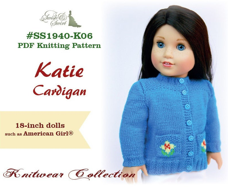 PDF Knitting Pattern SS1940-K06. Katie Cardigan for 18-inch image 0