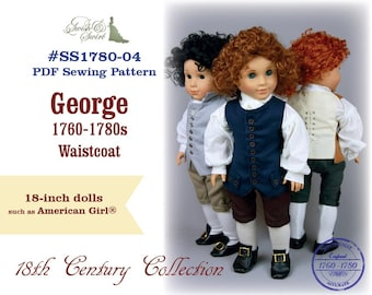 PDF Pattern #SS1780-04. George 1760-1780s Waistcoat for 18-inch dolls such as American Girl®
