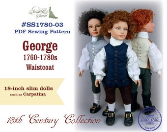 PDF Pattern #SS1780-03. George 1760-1780s Waistcoat for slim 18-inch Carpatina boy dolls