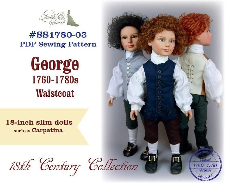 PDF Pattern SS1780-03. George 1760-1780s Waistcoat for slim image 0