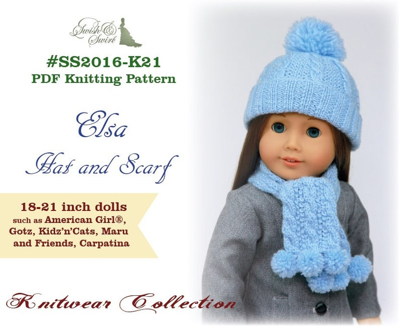 PDF Knitting Pattern SS2016-K21. Elsa Hat and Scarf for image 0