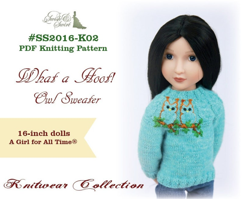 PDF Knitting Pattern SS2016-K02. What a Hoot Owl Sweater for image 0