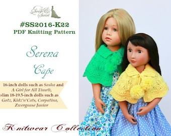 PDF Knitting Pattern #SS2016-K22. Serena Cape for 16-21-inch dolls like A Girl for All Time, Sasha, Gotz, Zwergnase Junior, Kidz'n'cats.