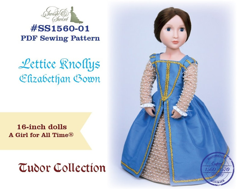 PDF Pattern SS1560-01. Lettice Knollys Elizabethan Gown for A image 0