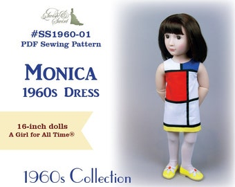 PDF Pattern #SS1960-01. Monica 1960s dress for A Girl for All Time dolls.