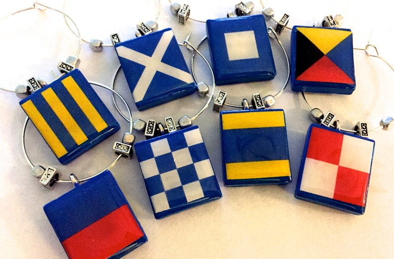 Boating Nautical Wine Charms  Custom Maritime Signal Flags image 0