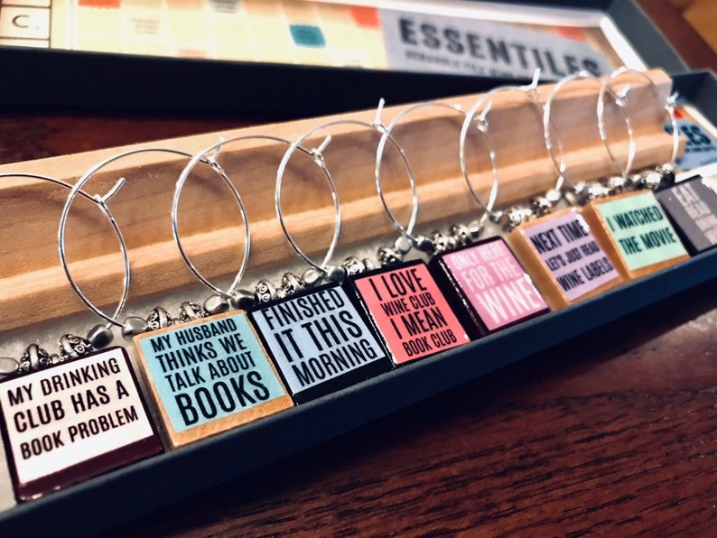 Book Club Funny Truths Custom Scrabble Tile Wine Glass Charms image 0