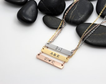 Personalized Initials Bar Necklace | Dainty | Minimalist | Engraved Jewelry