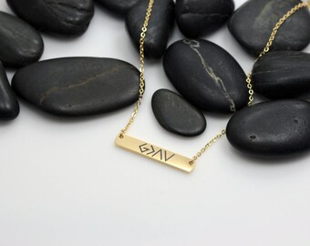 God Is Greater Than The Highs And Lows Religious Bar Necklace | Dainty | Minimalist | Engraved GOLD Toned Jewelry