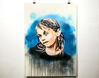 Girl with drips stencil painting