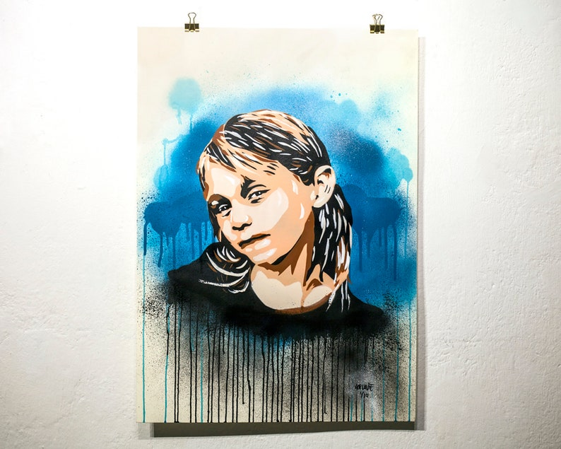 Girl with drips stencil painting image 0