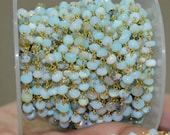 BIG SALE 1 Foot Natural Peru Blue Opal faceted Rosary Style Beaded Chain -Peru Blue Opal Beads wire wrapped chain - 50AA04