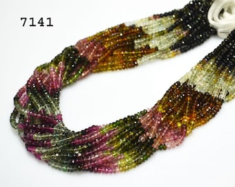 Outstanding Tourmaline Gemstone Rondelle Faceted 4mm- WatermelonTourmaline Faceted Beads 14 inch strand -150 beads