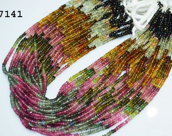 Outstanding Tourmaline Gemstone Rondelle Faceted 3 mm- WatermelonTourmaline Faceted Beads 14 inch strand -150 beads