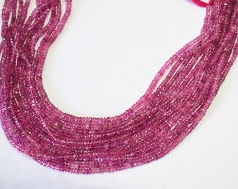 AAA Finest Quality Natural Pink Tourmaline Rondelle Faceted 3 mm Approx. , 13 inch strand