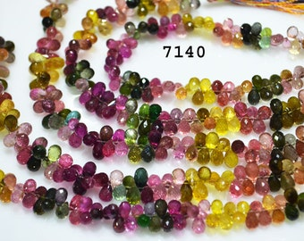 Outstanding Tourmaline Gemstone Briolette Faceted Tear Drops Side Drilled 4x7 to 5x8mm-Tourmaline Faceted briolettes 7 inch strand -70 beads