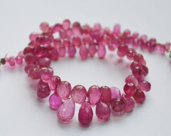 Natural Dark Pink Tourmaline Drops Faceted  , 8 inch Strand