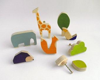 Knobs for children's drawers, wooden animals knobs, playful knobs, kids furniture