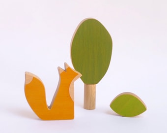 Wooden toy animal, fox and tree toy for toddlers and creative play