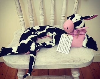 Warm Fuzzy Moo Cow neckwarming barley bag: Handmade to order with proceeds donated to relevant charity