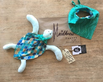Sea turtle creature comforter and matching bandana bib: part proceeds to clients choice of charity