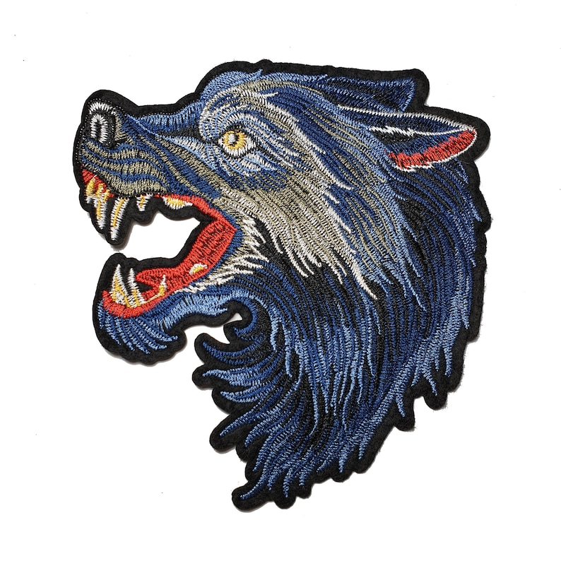ed5e36757418c Blue Wolf Embroidered Iron On Patch Applique, Gucci Inspired Patch