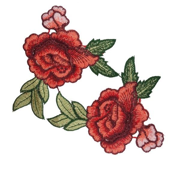 PAILLETTES RICAMO FIORE ROSA APPLIQUE Patch Iron-on Rosso Verde scegli quantità