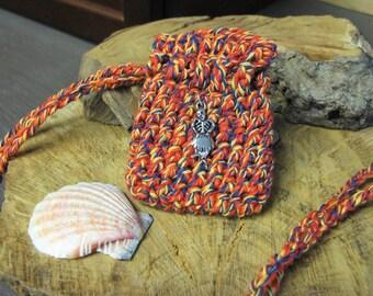 Dia de los Muertos Pouch Necklace, Day of the Dead Festival Pouch, Mini Crochet Pouch, Crystal Pouch, Spell Bag, Ancestor Spirits