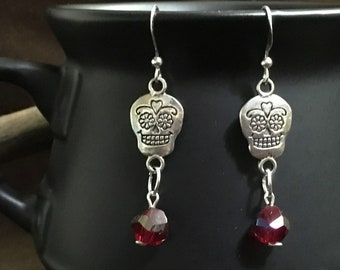 Silver and Red Crystal Calavera Earrings, Silver Mexican Sugar Skull Earrings
