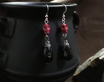 Deep Red Gothic Skull Earrings