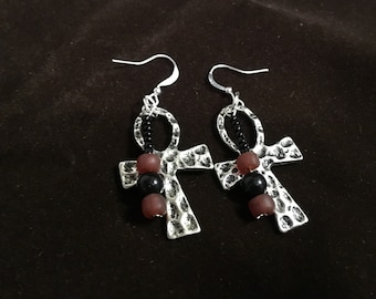 Ankh Earrings, Silver Ankh with Red and Black beads, Egyptian Ankh