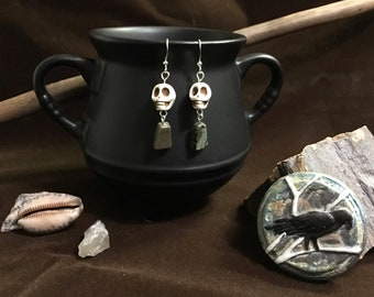 Rebirth - Skull and muted blue green Jasper pyramid earrings
